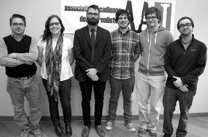 De gauche à droite: Patrick Lacelle, Marie-Claude Frenette, Pascal Raiche-Nogue, Mathieu Roy-Comeau, Antoine Trépanier et Marc-Samuel Larocque. Absente: Marilyn Marceau.