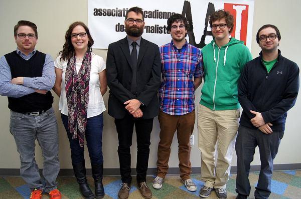 De gauche à droite, Patrick Lacelle, Marie-Claude Frenette, Pascal Raiche-Nogue, Mathieu Roy-Comeau, Antoine Trépanier et Marc-Samuel Larocque.